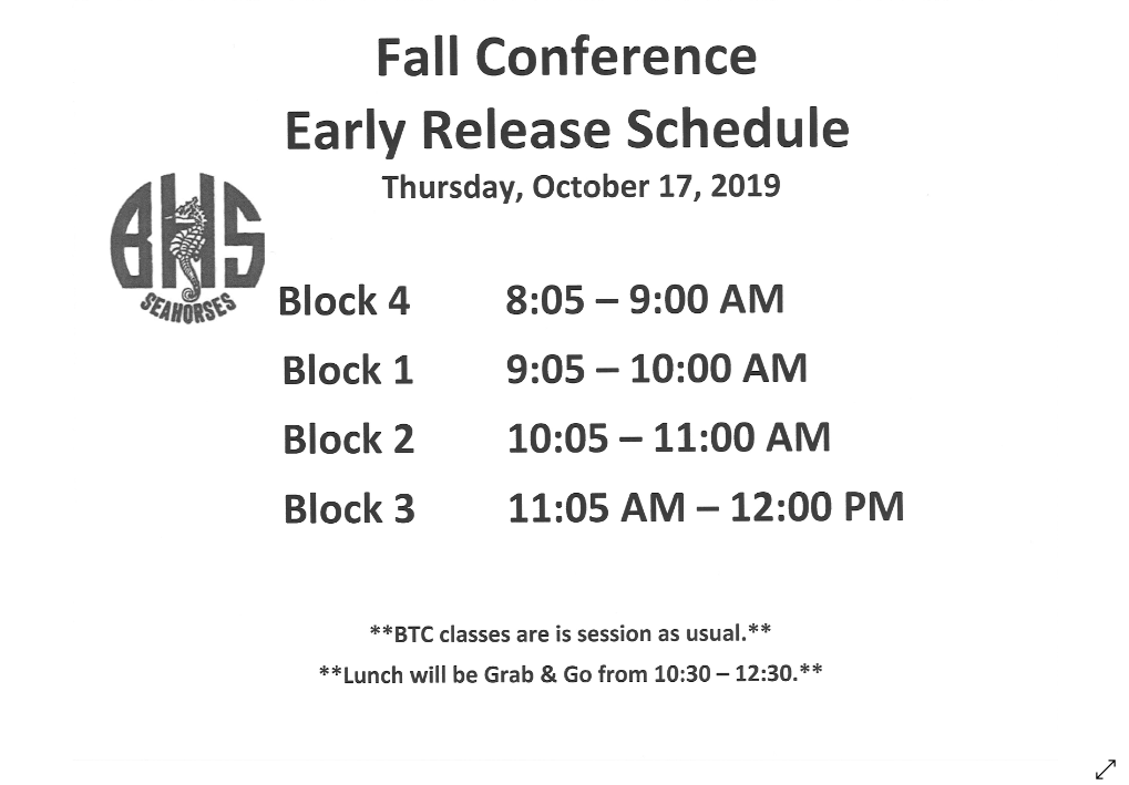 fall conference early realease schedule
