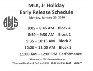MLK Day Schedule