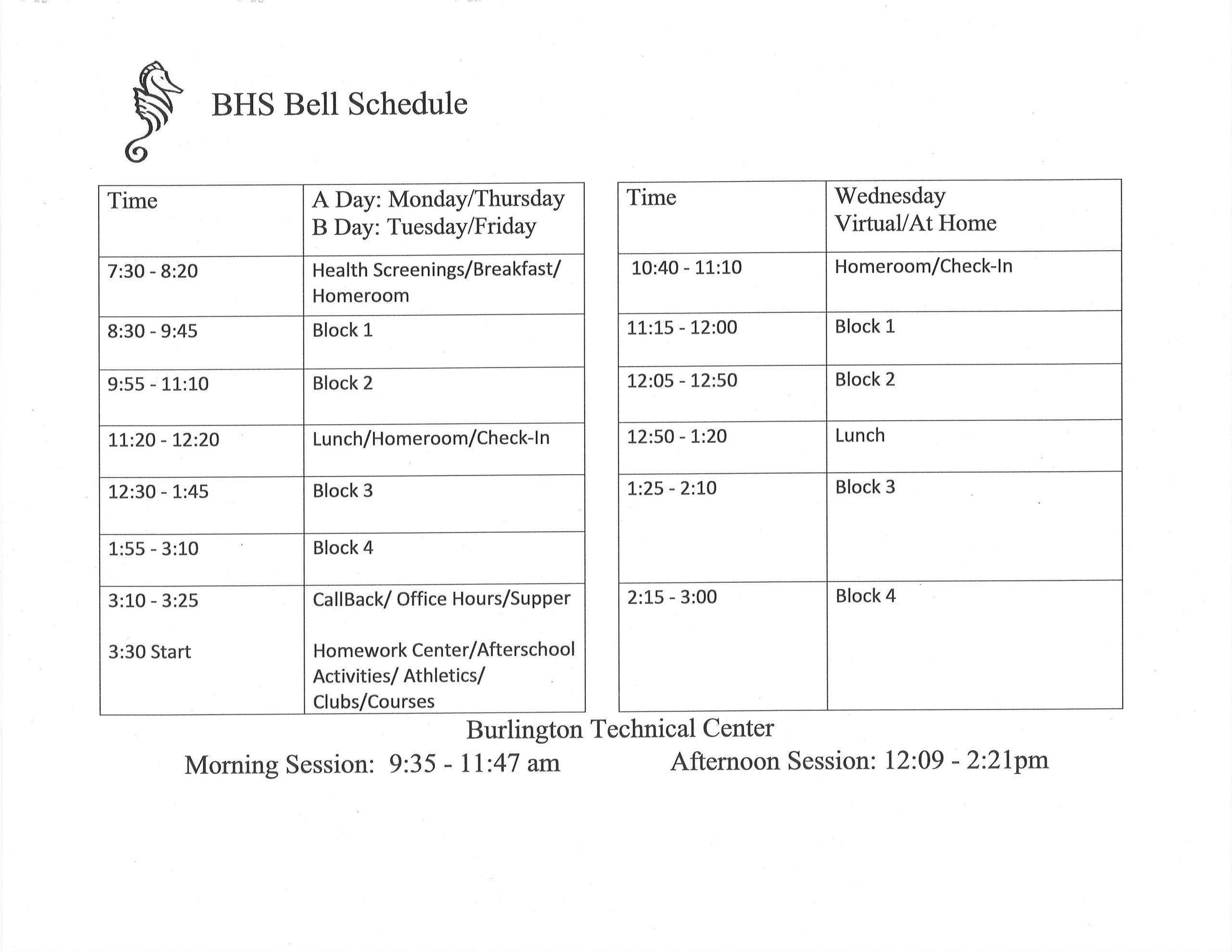 bell schedule 2020