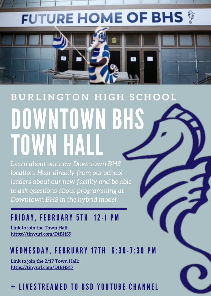 Flyer for Downtown BHS Town Hall